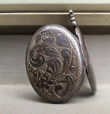 ENGRAVED LOCKET -  Sterling Double Picture Pendant VINTAGE 1 1/2 Inch