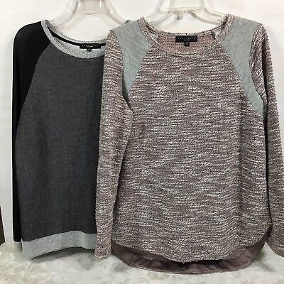 Lot of 2 Sanctuary Clothing Mixed Media Long Sleeve Knit Tops Womens Large