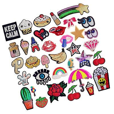 SIX VANKA Glitter Sequins Patches 36pcs Assorted Color Iron On Embroidered Ap...