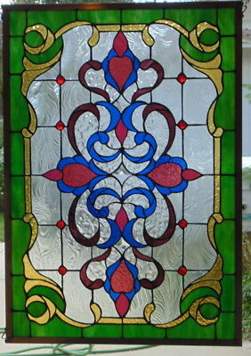 Stained Glass window Victorian hanging  34 X 24