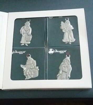 Christmas Tree Ornaments Longaberger Pewter Santa Collection 1990 to 93