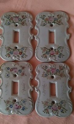 Vintage Set of 4  Shabby Chic Porcelain Light Switchcovers White w/ Floral JAPAN