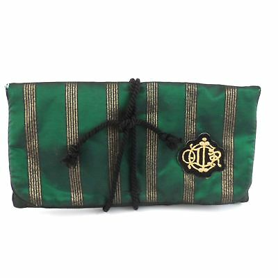 Vtg CHRISTIAN DIOR Green Jewelry Travel Roll Case