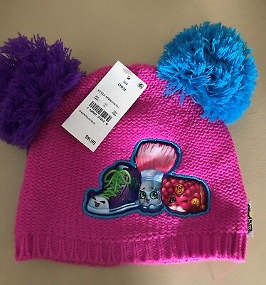 Shopkins Girls pink beanie with purple and blue pom poms!  New with tags!