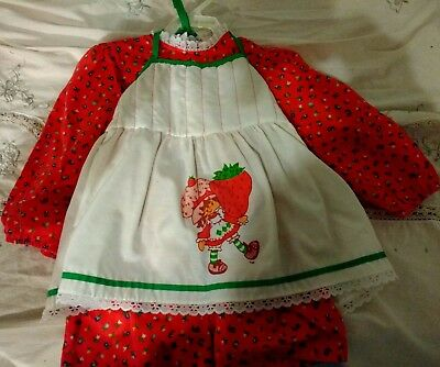 Vintage Strawberry Shortcake Girls Girl's Dress Size 4 With Pinafore 1980 Tag