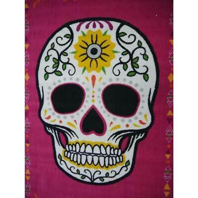 New Children's Rug Sugar Skull 100 x 150 Mat Floor Day of the Dead Hot Pink