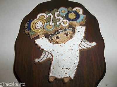 Vintage Saint Andrews ABBEY Pottery Wall Plaque Tile ANGEL 25th Anniversary