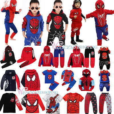Child Kids Spiderman Hoodies Top Shirt Pants Set Toddler Halloween Fancy Outfits