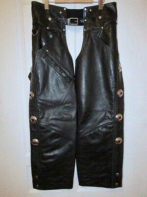 EUC Rare Vintage Harley Davidson Mens Heritage Leather Chaps Made in U.S.A. M