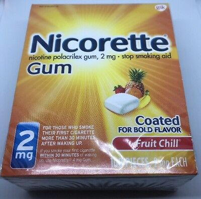 New Nicorette Coated Nicotine Gum, 2mg, Fruit Chill, 100 Pieces, Exp  1/2020