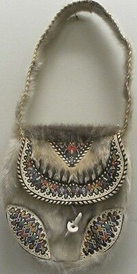 EARLY 1900s ESKIMO NATIVE INDIAN ANIMAL FUR CLAWS LEATHER BAG TRIBE BEADED PURSE