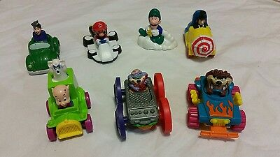 MIXED Lot of 8 Vintage Fast Food Wheeled Rolling Toys Mini Figures Nintendo, DC