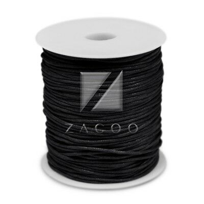 1 Roll 80M 1.5mm Waxed Cotton Cord Jewelry Making Thread Beading Supply Black