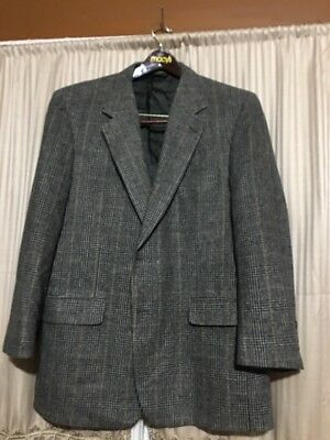 Brooks Brothers Mens Camel Hair 2 Button Sport Coat Gray Glen Plaid USA Size 45R