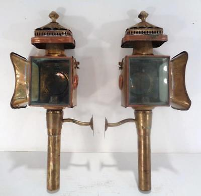 Pair Antique LIME HOUSE Lamp Co Brass Copper Carriage Coach Lanterns Lights vtg