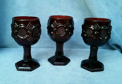 """Vintage Set of 3 Avon Ruby Red 4.5"""" Cape Cod Wine/Cordial Goblets Candle Holder"""