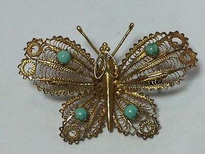 Beautiful Large Vintage 14K Yellow Gold Filigree Butterfly turquoise Brooch 6.4g