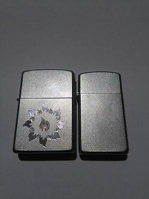 lot of 2 Zippo lighters 1 ring of fire and 1 smaller - Satin Chrome - 07 & 08