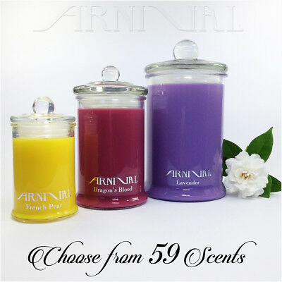 HIGHLY SCENTED 100% NATURAL SOY WAX CANDLE 30 55 110 hour burn GLASS JAR CANDLES