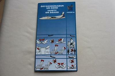 Safety Card Flugfelag Islands Fokker 50