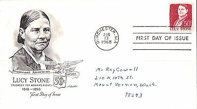 United States Prominent Americans Lucy Stone First Day Cover 1968