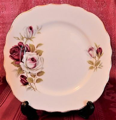 COLCLOUGH English Bone China CAKE PLATE Red & White Roses