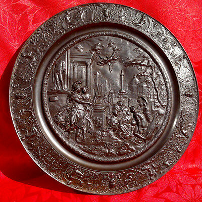 Antique Grand Tour Ancient Rome Plaque~Emperor Trajan~Bronzed Pewter 15.75""