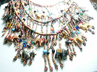 Vintage Tribal colored heshe beaded clay carved Animal Bib necklace