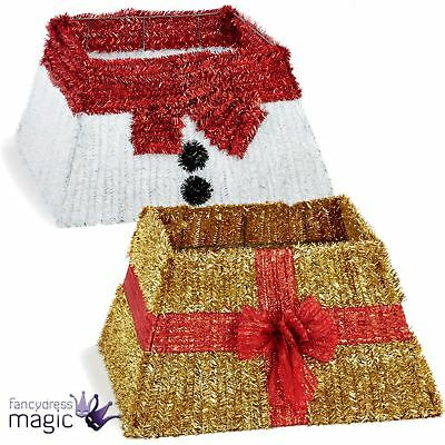 Tinsel Skirt Christmas Nest 50cm x 32cm Tree Stand Santa Present Bow Decoration