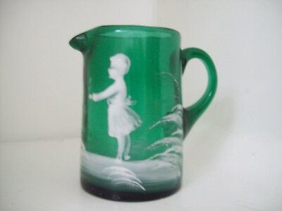 Mary Gregory Green  Art Glass small jug  Victorian?
