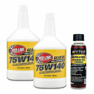 2 x Red Line Hypoid Limited Slip Differential 75W140 Gear Fluid - 946ml