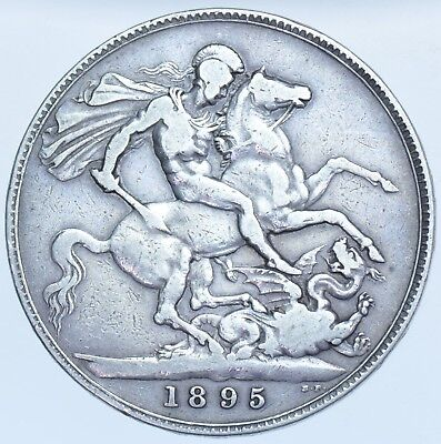 1895 Lix Crown, British Silver Coin From Victoria Vf