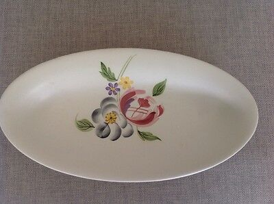 Vintage Redford hand painted oval dish decorated with flowers from mid C19
