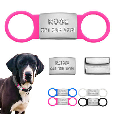 Personalised Slide-On Pet Dog ID Tags Stainless Steel No Noise 3/4'' Collar Tags