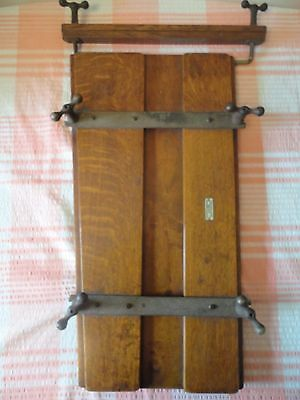 """Vintage Everitt's Wooden Trouser Press - """"Improved"""" with Patent Label"""