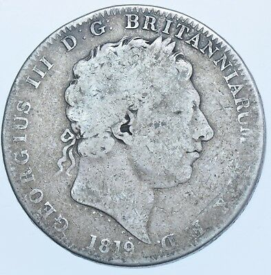 1819 Lx Crown, British Silver Coin From George Iii Fine