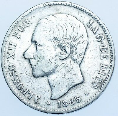 Spain, Afonso Xii, 5 Pesetas Ms-M 1885 (87), Silver Coin Vf