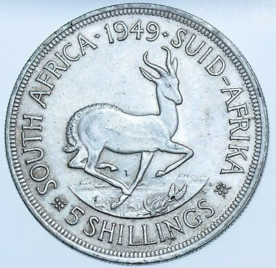 South Africa, George Vi 5 Shilling (Crown), 1949 Silver Coin Ef