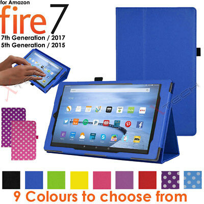 "Folding Leather Flip Case Cover & Stand for Amazon Fire 7"" 2017 Alexa (7th Gen)"