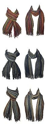 Mens Stripe Scarf College Ladies Scarf Vertical Stripes Fringing Christmas Gift