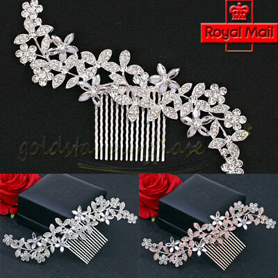 Bridal Hair Comb Headpiece Large Silver Gold Crystal Sparkle Vintage Diamante