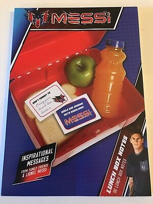 NEW! Lionel MESSI Lunch Box Inspirational Notes Soccer Football Barcelona Player