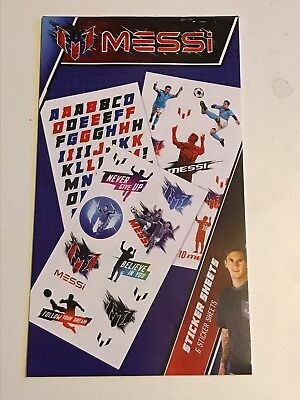 NEW! Lionel MESSI Sticker Pad 6 Sheets Soccer Football Barcelona Player