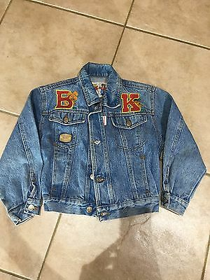 Retro 80's Unisex Boy Girl Denim Bomber Jacket Size 5 Made In Italy.