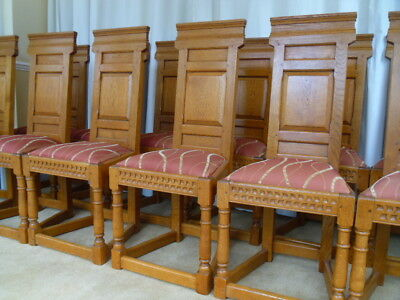 12 Solid Oak Dining Chairs / Antique Style / Country Farmhouse