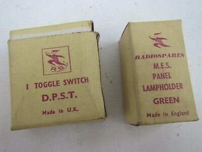 Vintage RS Radio Spares Boxed Toggle Switch & Panel Lamp holder  - New Old Stock