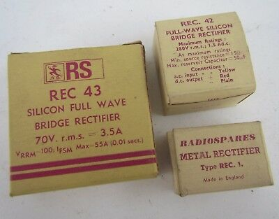 Vintage RS Radio Spares Boxed Bridge Rectifiers - New old stock
