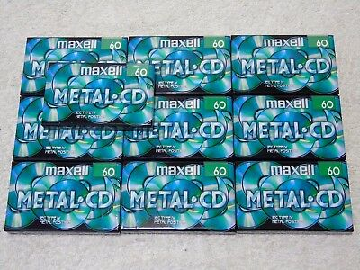 10 x BRAND NEW SEALED MAXELL Metal.CD Type IV Metal Bias 60 Min Cassette Tapes