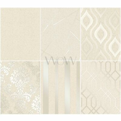 Fine Decor Quartz Gold Wallpaper Metallic Textured Stripes Damask