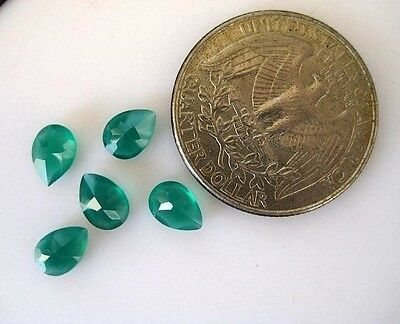 50 Pieces Pear Shaped Green Onyx Cabochons Faceted Flat Back Gemstones - BB232